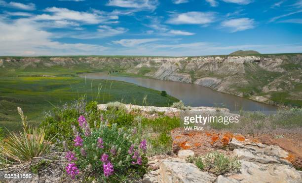 Missouri River from the top of Hole In The Wall rock formation Upper Missouri River Breaks National Monument Montana