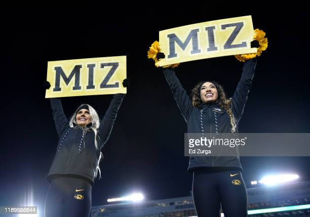 Missouri Tigers cheerleaders entertain in the third quarter of the game against the Tennessee Volunteers at Faurot Field/Memorial Stadium on November...
