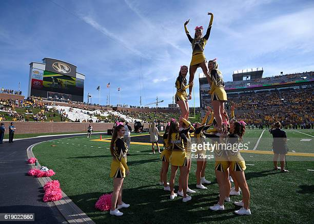 Missouri Tigers cheerleaders perform during a game against the Kentucky Wildcats in the first quarter at Memorial Stadium on October 29 2016 in...
