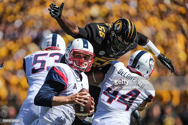 Missouri Tigers defensive lineman Walter Brady rushes Connecticut Huskies quarterback Bryant Shirreffs during the game between the Missouri Tigers...