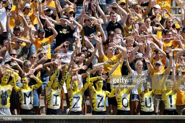 Missouri Tigers fans get pumped up prior to the first half of a college football game against the Tennessee Martin Skyhawks Saturday September 1 at...