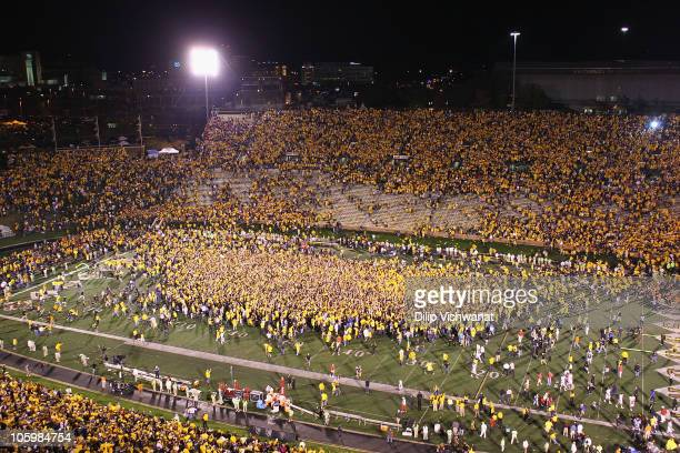 Missouri Tigers fans swarm the field after upsetting the Oklahoma Sooners at Faurot Field/Memorial Stadium on October 23 2010 in Columbia Missouri...