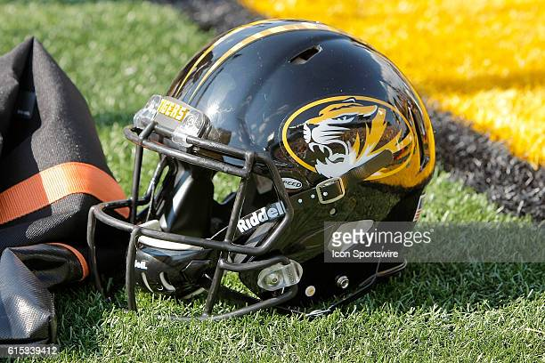 Missouri Tigers football helmet sits on the turf during the first half of a NCAA football game against the Delaware State Hornets on Faurot Field at...