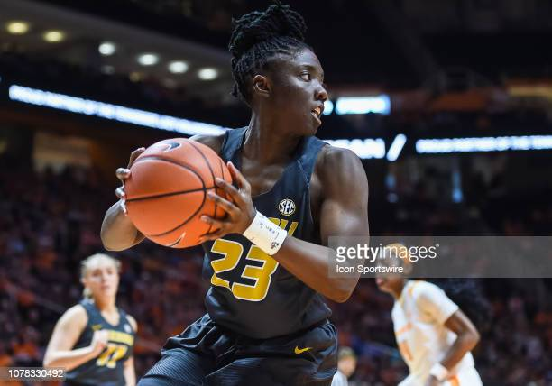 Missouri Tigers guard Amber Smith grabs a rebound during a college basketball game between the Tennessee Lady Volunteers and Missouri Tigers on...