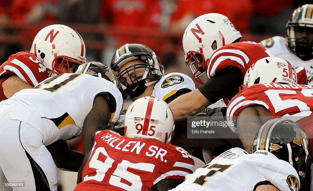 Missouri Tigers quarterback Blaine Gabbert #11 get crunched by the Nebraska Cornhusker Defense near the goal line during second half action of their game at Memorial Stadium on October 30, 2010 in Lincoln, Nebraska. Nebraska Defeated Missouri 31-17.