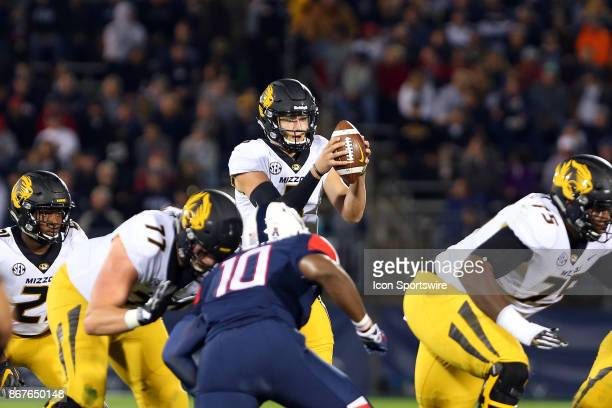 Missouri Tigers quarterback Drew Lock during a college football game between Missouri Tigers and UConn Huskies on October 28 at Rentschler Field in...