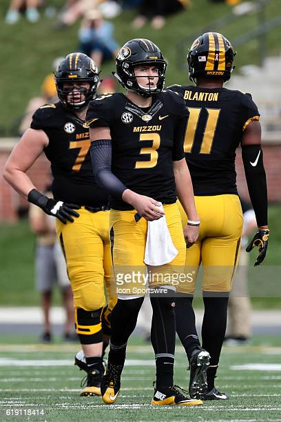 Missouri Tigers quarterback Drew Lock looks down field during a NCAA football game between the Kentucky Wildcats and the Missouri Tigers on October...