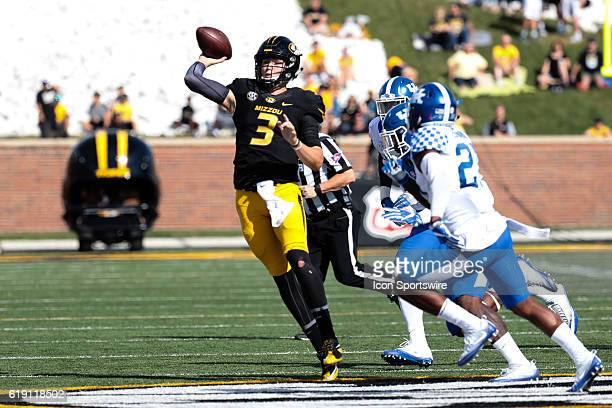 Missouri Tigers quarterback Drew Lock makes a pass during a NCAA football game between the Kentucky Wildcats and the Missouri Tigers on October 29 on...
