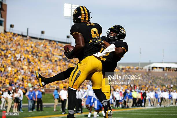 Missouri Tigers wide receiver Dimetrios Mason celebrates a touchdown reception on a pass from Missouri Tigers quarterback Drew Lock during a NCAA...