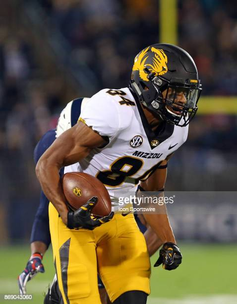 Missouri Tigers wide receiver Emanuel Hall runs with the ball during a college football game between Missouri Tigers and UConn Huskies on October 28...