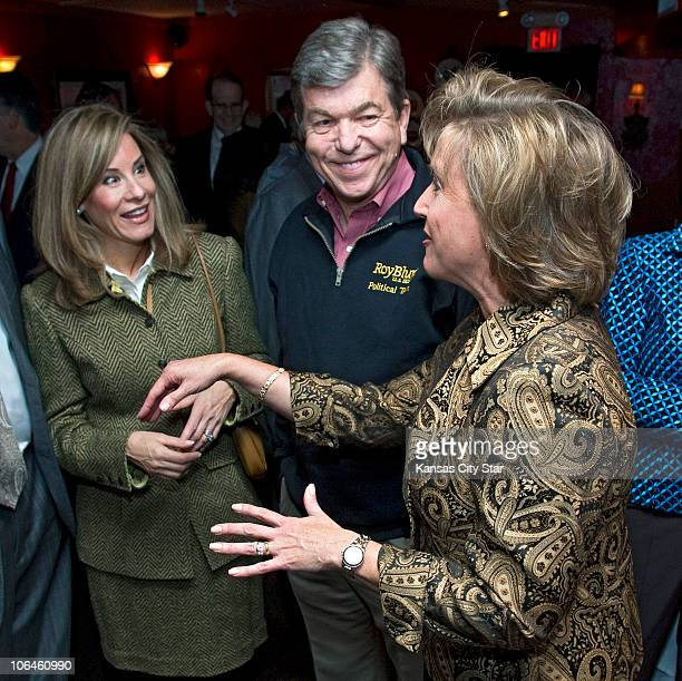 Missouri US Senate candidate Roy Blunt center and his wife Abby Blunt left visit with Ann Wagner right chairman of the Blunt for Senate Campaign...