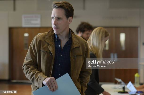 Missouri's Republican US Senate Candidate Josh Hawley awaits to casts his vote on election day at The Crossings Church on November 6 2018 in Columbia...