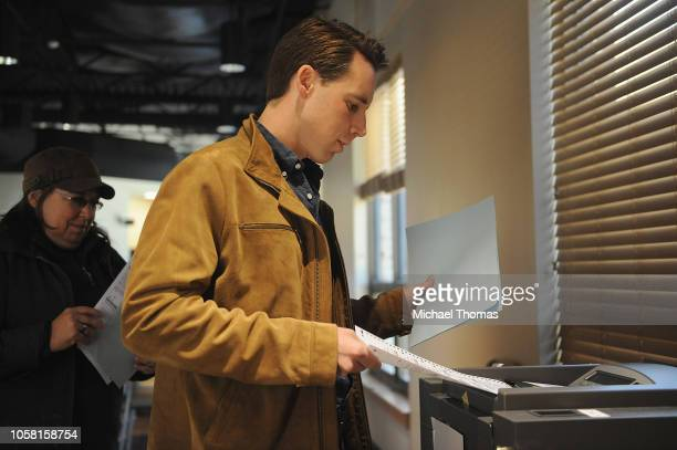 Missouri's Republican US Senate Candidate Josh Hawley casts his vote on election day at The Crossings Church on November 6 2018 in Columbia Missouri...