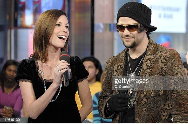 Missy and Bam Margera during Bam Margera and His Fiance Missy Visit MTV's TRL January 29 2007 at MTV Studios in New York City New York United States