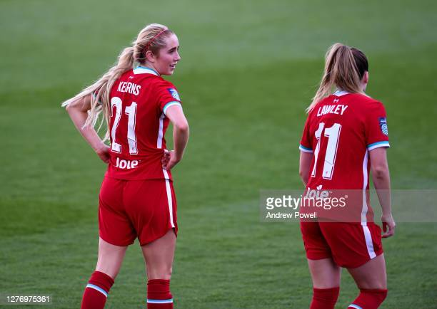 Missy Bo Kearns and Melissa Lawley of Liverpool Women during the FA Women's Championship match between Liverpool Women and Charlton Athletic Women at...