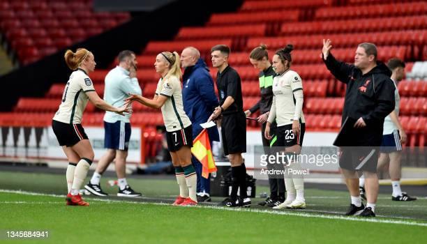 Missy Bo Kearns of Liverpool Women replacing Rachel Furness of Liverpool Women during the Barclays FA Women's Championship match between Sheffield...