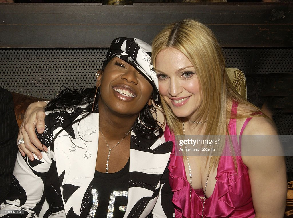 Missy Elliot and Madonna during Warner Entertainment 2004 Grammy Party at Kitano Japanese Restaurant in Los Angeles, CA, United States.