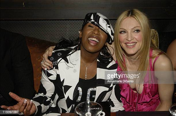 Missy Elliot and Madonna during Warner Entertainment 2004 Grammy Party at Kitano Japanese Restaurant in Los Angeles CA United States