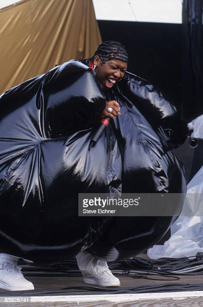 Missy Elliot dressed in an outrageous bubble costume performing at Jones Beach during Lilith Fair 1998