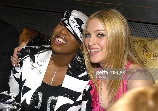 Missy Elliot Madonna during Warner Entertainment 2004 Grammy Party at Kitano Japanese Restaurant in Los Angeles CA United States