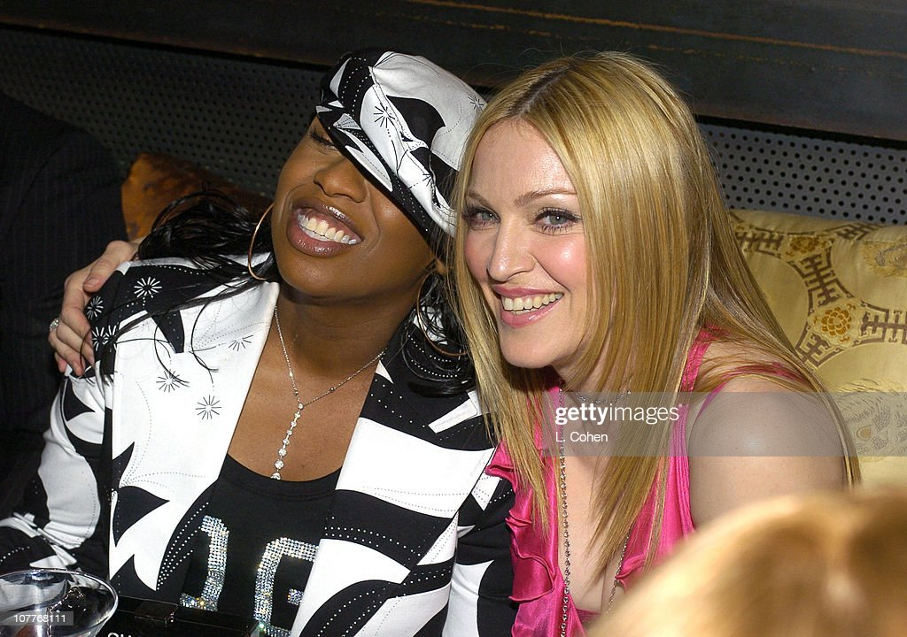 Missy Elliot & Madonna during Warner Entertainment 2004 Grammy Party at Kitano Japanese Restaurant in Los Angeles, CA, United States.