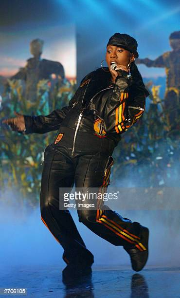Missy Elliot performs at the MTV Europe Music Awards 2003 on November 6 2003 in Edinburgh Scotland