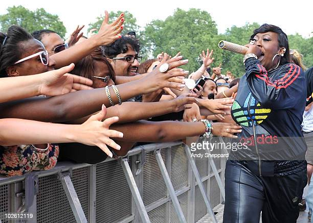 Missy Elliot performs on stage during the second day of Wireless Festival 2010 in Hyde Park on July 3 2010 in London England