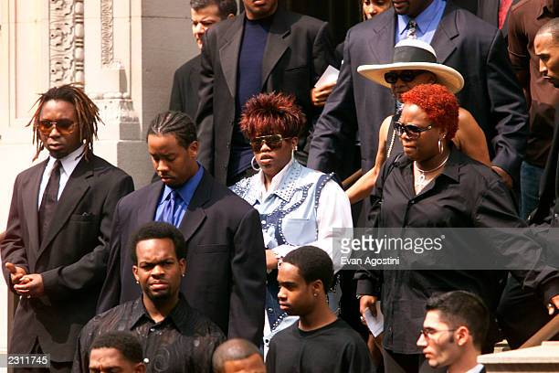 Missy Elliott among the mourners leaving R B singer Aaliyah's memorial service at St Ignatius Loyola Roman Catholic Church in New York City 8/31/2001...