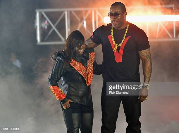 Missy Elliott and Busta Rhymes perform onstage at the 2012 BET Hip Hop Awards at Boisfeuillet Jones Atlanta Civic Center on September 29 2012 in...
