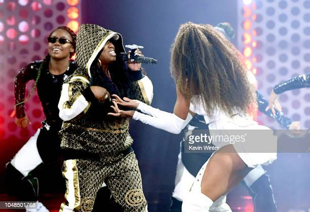 Missy Elliott and Ciara perform onstage during the 2018 American Music Awards at Microsoft Theater on October 9 2018 in Los Angeles California
