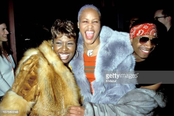 Missy Elliott and Eve during Tommy Hilfiger Fall 2000 Fashion Show Backstage at Macy's in New York City New York United States