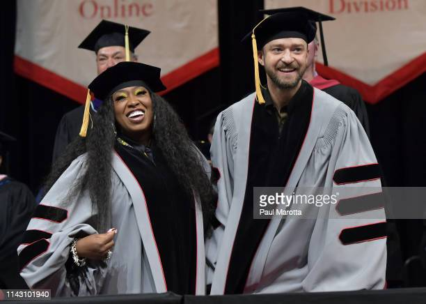 Missy Elliott and Justin Timberlake attend the Berklee College of Music 2019 Commencement ceremony at Agganis Arena at Boston University on May 11...