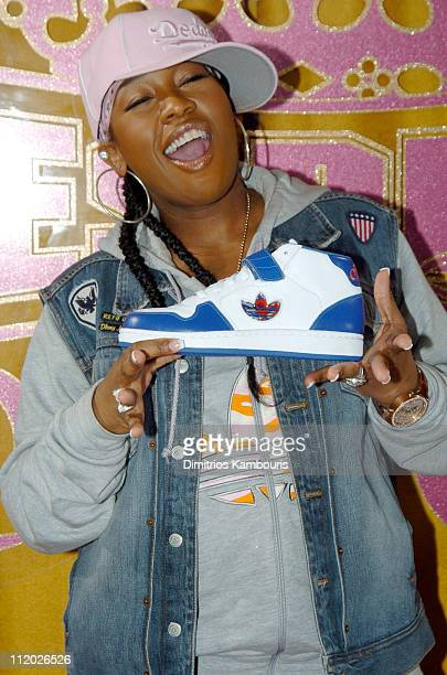 Missy Elliott during Missy Elliott Launches Adidas Sportswear Clothing Line Respect ME at Adidas SoHo Store in New York City New York United States