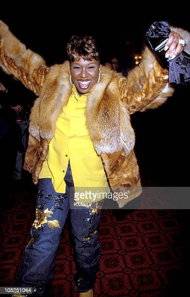 Missy Elliott during Tommy Hilfiger Fall 2000 Fashion Show Backstage at Macy's in New York City New York United States
