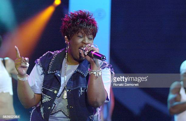 Missy Elliott on stage during the opening ceremony of 'Stars 2001 The PopKomm Gala' in Cologne