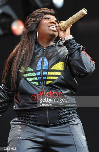Missy Elliott performs on stage during the second day of the Wireless Festival in Hyde Park on July 3 2010 in London England