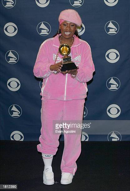 Missy Elliott poses backstage with her Grammy for Best Female Rap Solo Performance during the 45th Annual Grammy Awards at the Madison Square Garden...