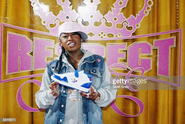 Missy Elliott poses for a photo during a press conference to annouce her partnership with Adidas and present her Adidas clothing line 'Respect Me' at...