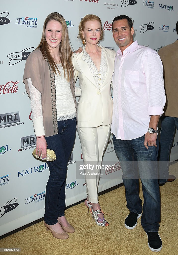 Missy Franklin, Nicole Kidman and Merrill Moses attends the 'Gold Meets Golden' event on January 12, 2013 in Los Angeles, California.