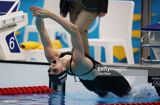 Missy Franklin of the United States competes in the Women's 100m Backstroke final on Day 3 of the London 2012 Olympic Games at the Aquatics Centre on...