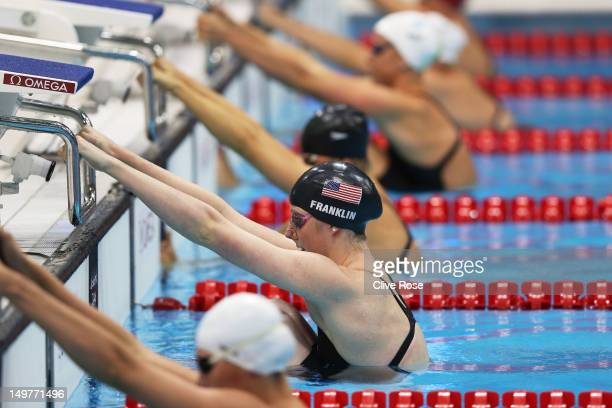 Missy Franklin of the United States prepares to start the Women's 200m Backstroke Final on Day 7 of the London 2012 Olympic Games at the Aquatics...