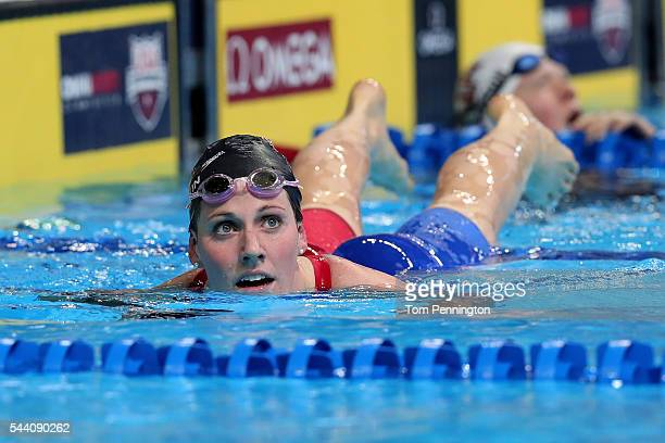 Missy Franklin of the United States reacts after competing in a heat for the Women's 200 Meter Backstroke during Day Six of the 2016 US Olympic Team...