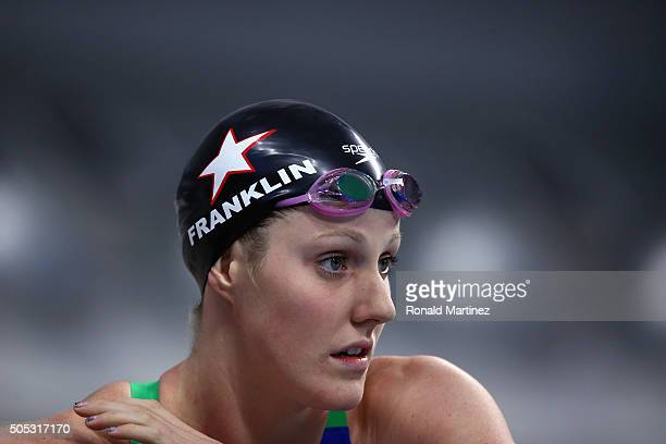 Missy Franklin prepares to swim in the Women's 200 meter backstroke during the Arena Pro Swim Series at Austin on January 16 2016 in Austin Texas