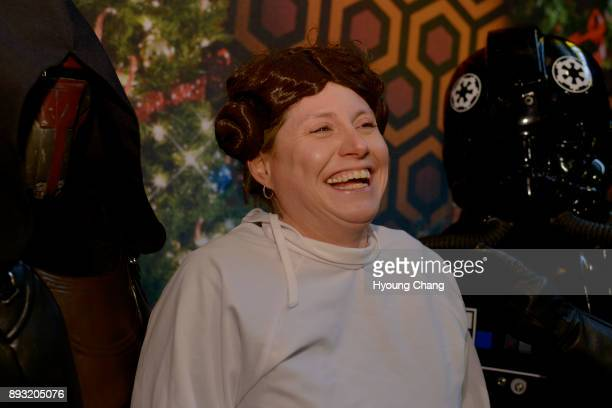 Missy Gutreuter of Princess Leia center captured by Sara Gurnett of Darth Revan left and Tori Smith of TIE pilot at Alamo Drafthouse Cinema in Denver...