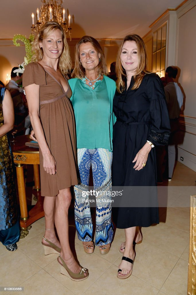 Missy Hargraves, Carine de Meyer and Lynn Lehocky attend Katrina and Don Peebles Host NY Mission Society Summer Cocktails at Private Residence on July 7, 2017 in Bridgehampton, New York.