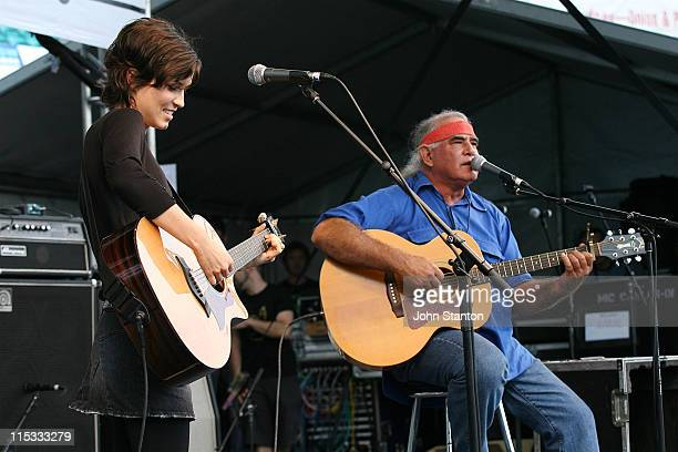 Missy Higgins and Kev Karmody during Rockin' For Rights Concert April 22 2007 at Sydney Cricket Ground in Sydney NSW Australia