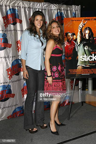 Missy Peregrym and Vanessa Lengies during 'Stick It' Planet Hollywood Memorabilia Donation at Planet Hollywood Times Square in New York NY United...