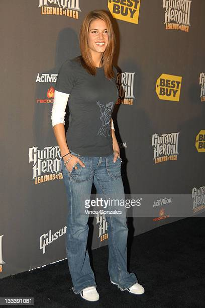 Missy Peregrym attends Guitar Hero III Halloween launch party at Best Buy Red Carpet