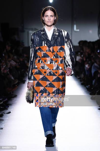 Missy Rayder walks the runway during the Dries Van Noten show as part of the Paris Fashion Week Womenswear Fall/Winter 2017/2018 on March 1 2017 in...