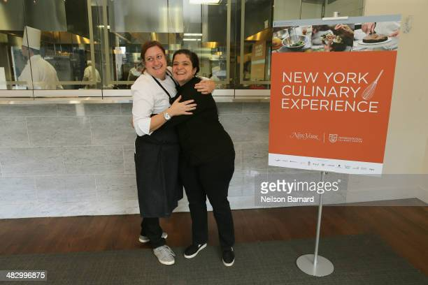 Missy Robbins and Alex Guarnaschelli pose for a photo during Day 1 of the New York Culinary Experience 2014 presented by New York Magazine and the...